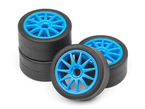 HPI 115390 - SLICK TIRE/SPEEDLINE WHEEL SET (MICRO/CYAN/4PCS)